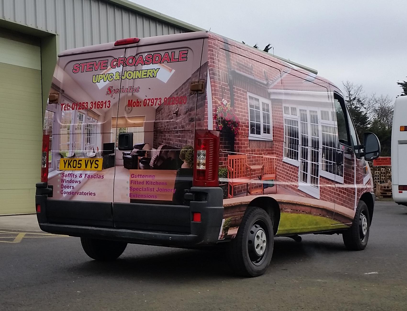 Full colour vehicle wrap on work van